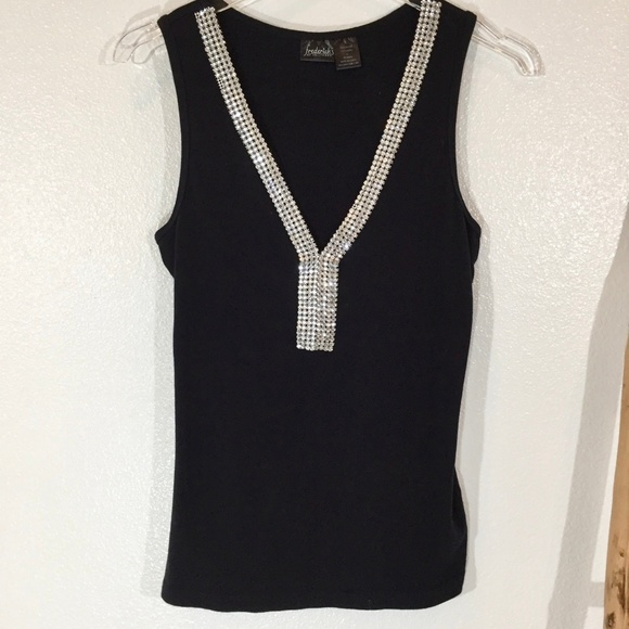 Frederick's of Hollywood Tops - Frederick's of Hollywood Rhinestone Tank Black L